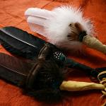 Prayer Feather smudging fans - Double Feathered.